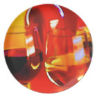 Abstract Bottle of Wine & Glasses Plate