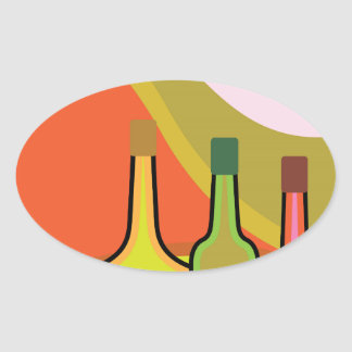 Abstract bottles and grapes oval sticker
