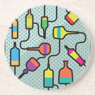 Abstract bottles drink coaster