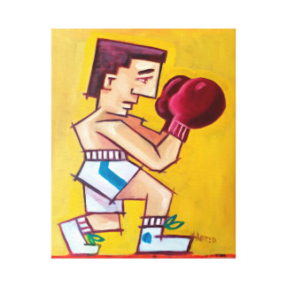 Abstract boxer painting on canvas