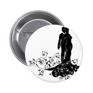 Abstract Bride and Groom Wedding Silhouette 6 Cm Round Badge