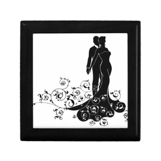 Abstract Bride and Groom Wedding Silhouette Small Square Gift Box