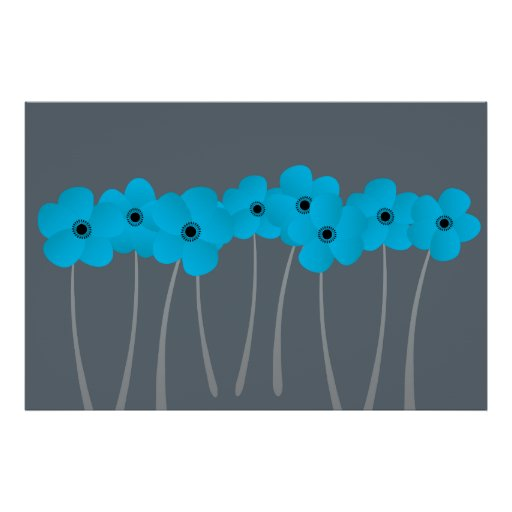 Abstract Bright Blue Anemones Impression in Blue Poster
