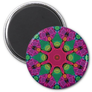 Abstract Bright Neon Kaleidoscope Magnet