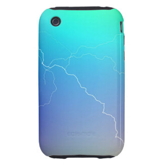 Abstract Bright Teal Pink Neon Lightning Image. Tough iPhone 3 Covers