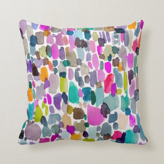 Abstract Bright Watercolor Colour Party Pattern Cushion
