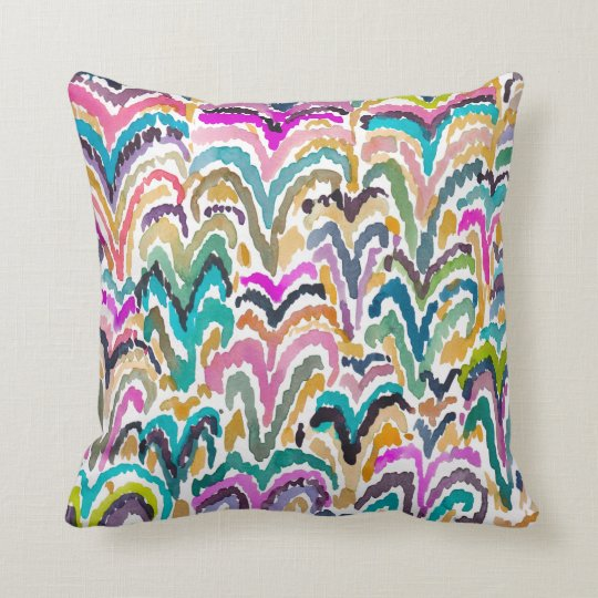 Abstract Bright Watercolor Sprouting Pattern Cushion