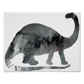 Abstract Brontosaurus Silhouette. Poster