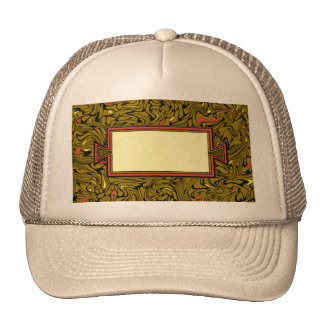 Abstract Bronze Baroque Pattern with Yellow & Red Mesh Hats