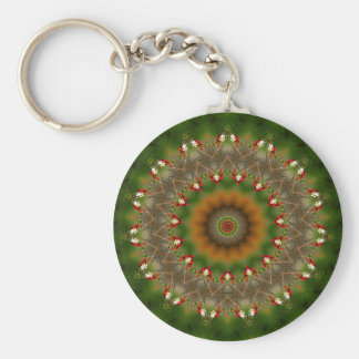 Abstract Brown And Green Kaleidoscope Pattern Basic Round Button Key Ring