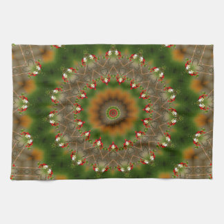 Abstract Brown And Green Kaleidoscope Pattern Tea Towel