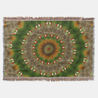 Abstract Brown And Green Kaleidoscope Pattern Throw Blanket