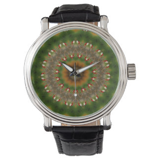 Abstract Brown And Green Kaleidoscope Pattern Watch