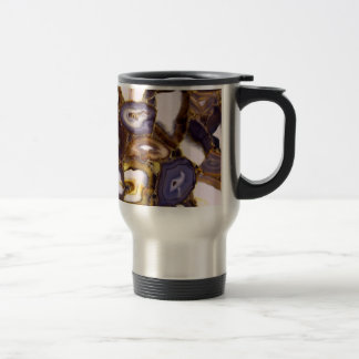 Abstract brown and purple agates travel mug