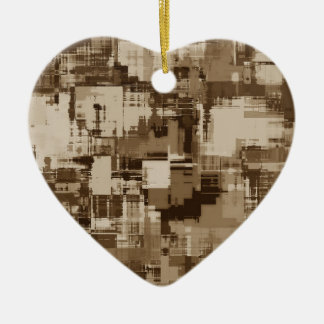 Abstract Brown Camo pattern Ceramic Heart Decoration