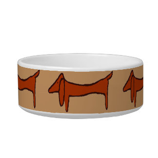 Abstract Brown Dachshund Pet Food Bowl