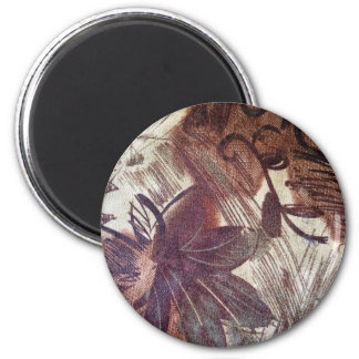 Abstract Brown Floral Design 1 6 Cm Round Magnet