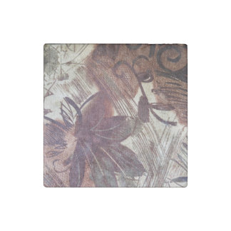 Abstract Brown Floral Design 1 Stone Magnet