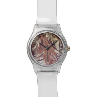 Abstract Brown Floral Design 2 Watch