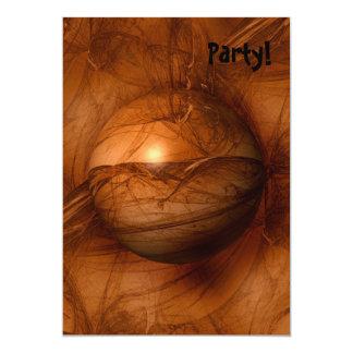Abstract Brown Globe 13 Cm X 18 Cm Invitation Card
