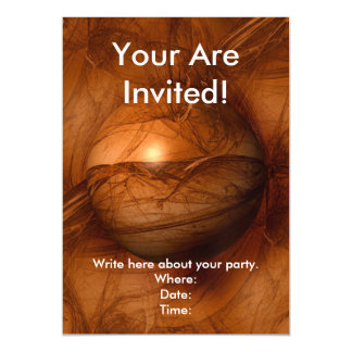 Abstract Brown Globe Magnetic Invitations