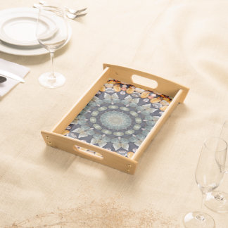 Abstract Brown Kaleidoscope Serving Tray