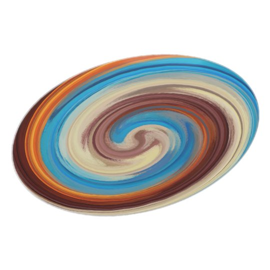 Abstract Brown Orange Blue Swirl Pattern Plate
