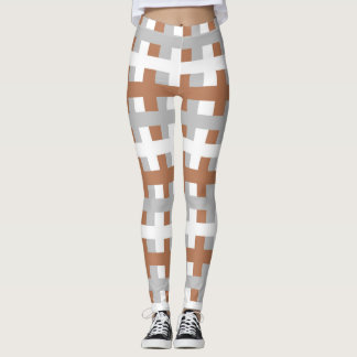 Abstract Brown, Silver and White Leggings