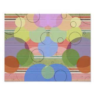 Abstract Bubbles Polka Dots Multi Colored Collage Poster