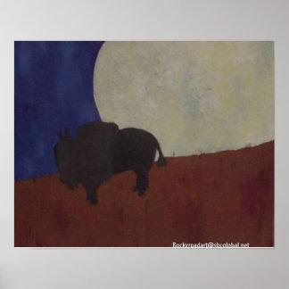 Abstract Buffalo at Night Poster