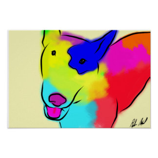 Abstract Bull Terrier Poster