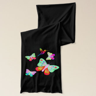Abstract Butterflies with hummingbird, Scarf