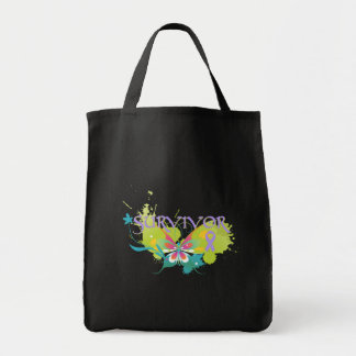Abstract Butterfly Cancer Survivor Grocery Tote Bag