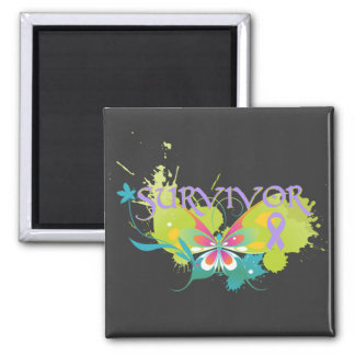Abstract Butterfly Cancer Survivor Fridge Magnets