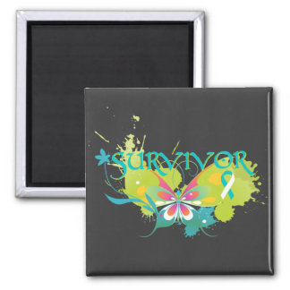 Abstract Butterfly Cervical Cancer Survivor Square Magnet