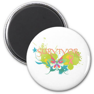 Abstract Butterfly Endometrial Cancer Survivor 6 Cm Round Magnet