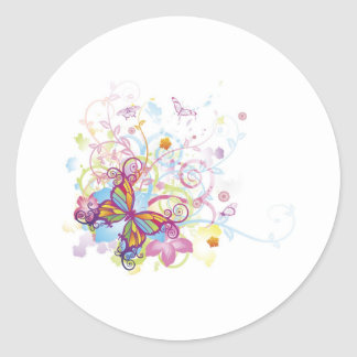 Abstract butterfly floral background round sticker