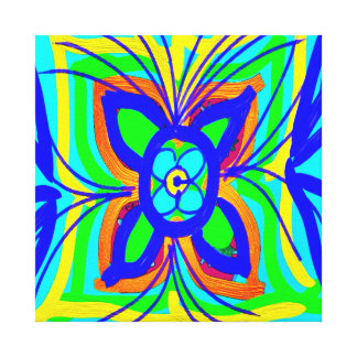 Abstract Butterfly Flower Kids Doodle Teal Lime Gallery Wrapped Canvas