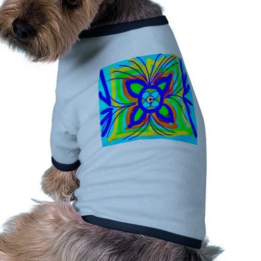 Abstract Butterfly Flower Kids Doodle Teal Lime Dog T Shirt