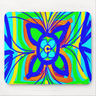Abstract Butterfly Flower Kids Doodle Teal Lime Mousepads