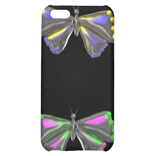 Abstract Butterfly Flutterby on black iPhone Cover For iPhone 5C