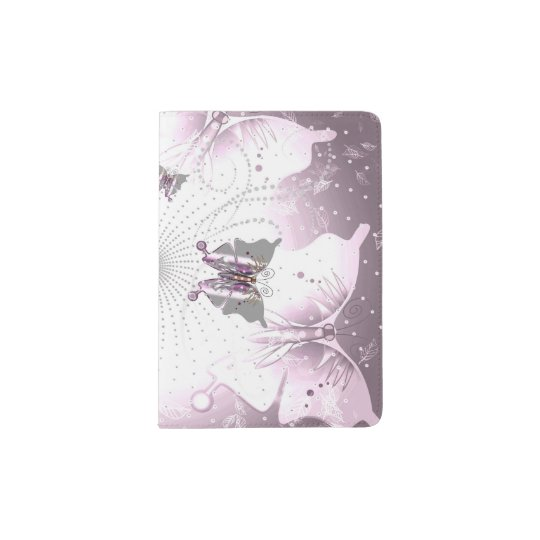 Abstract, butterfly in pink passport holder