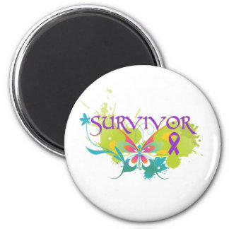 Abstract Butterfly Leiomyosarcoma Survivor Magnets