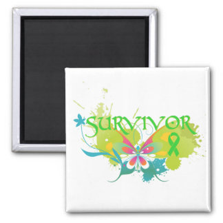 Abstract Butterfly Non-Hodgkin's Lymphoma Survivor Square Magnet
