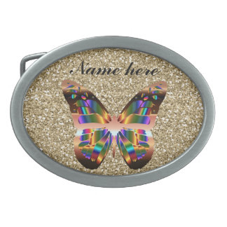 Abstract Butterfly On Gold Glitter Belt Buckle