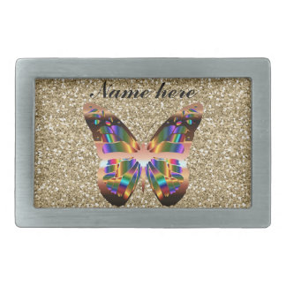 Abstract Butterfly On Gold Glitter Belt Buckles