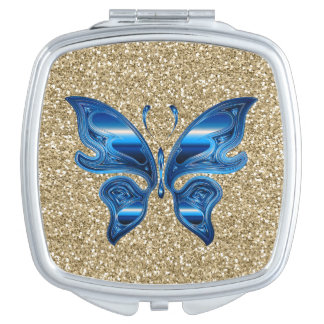 Abstract Butterfly On Gold Glitter Travel Mirror