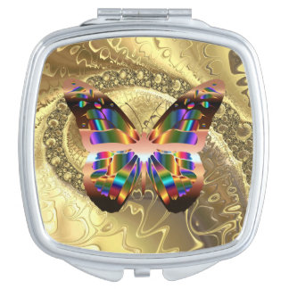 Abstract Butterfly On Gold Square Compact Mirror