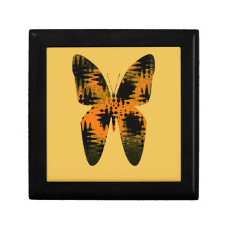Abstract Butterfly Orange Black Zig-Zag Pattern Small Square Gift Box