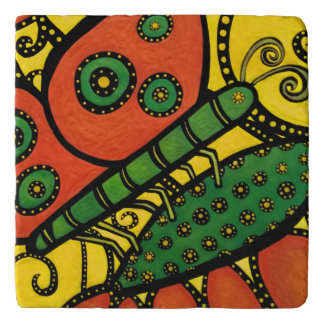 Abstract Butterfly Orange Yellow & Green Trivets